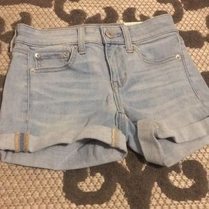 American eagle light washed denim shorts